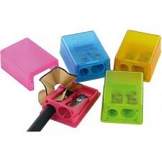 Чинка KUM на 2 олівця, з прозорим кольоровим міні-контейнером