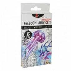 Маркери SANTI sketch, Seascape, набір 6 шт., для художніх робіт