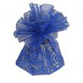 Упаковка з органзи d72см /синя, золотий візерунок з зіркою/